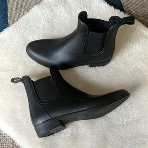 J. Crew Chelsea matte black rain boots